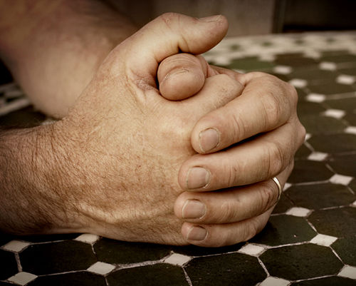 Dads Hands Clasped