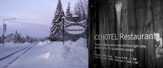 Sign outside the ICEHOTEL Restaurant